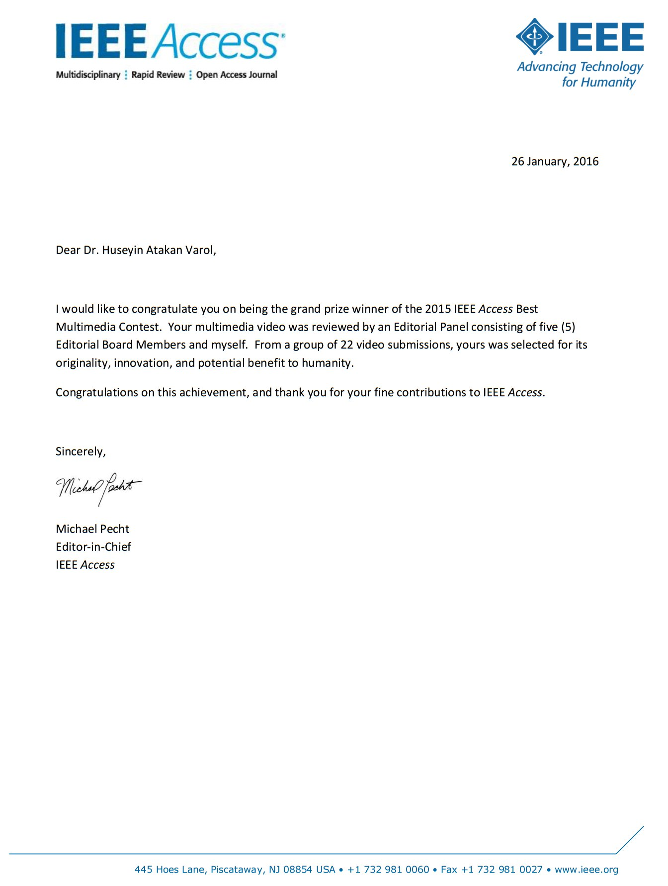 Letter from IEEE