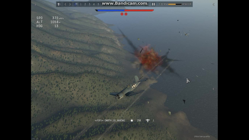 Для Чижика.Корсар 1c vc Як9П хед-он.Страшнейший воздушный удар о взрывную волну и столкновение с обломками.Я улетел целым.