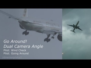 Extreme Crosswinds Etihad 777 Go Around aborted landing Dual View Manchester Airport