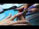 Наращивание ногтей гелем на формах стилеты с дизайном.