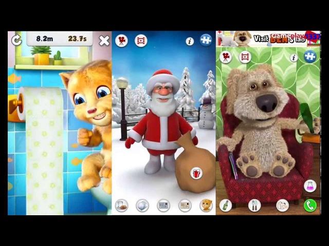 ГОВОРЯЩИЙ РЫЖИК САНТА СОБАКА БЕН Talking Ginger 2 vs Talking Santa vs Talking Ben