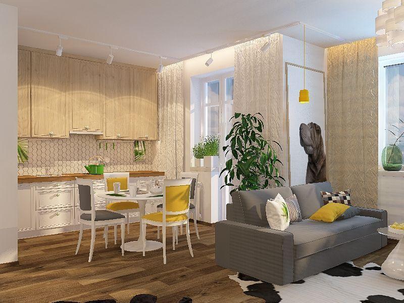 Проект по перепланировке 1-комнатной квартиры в квадратную студию почти 48 м.