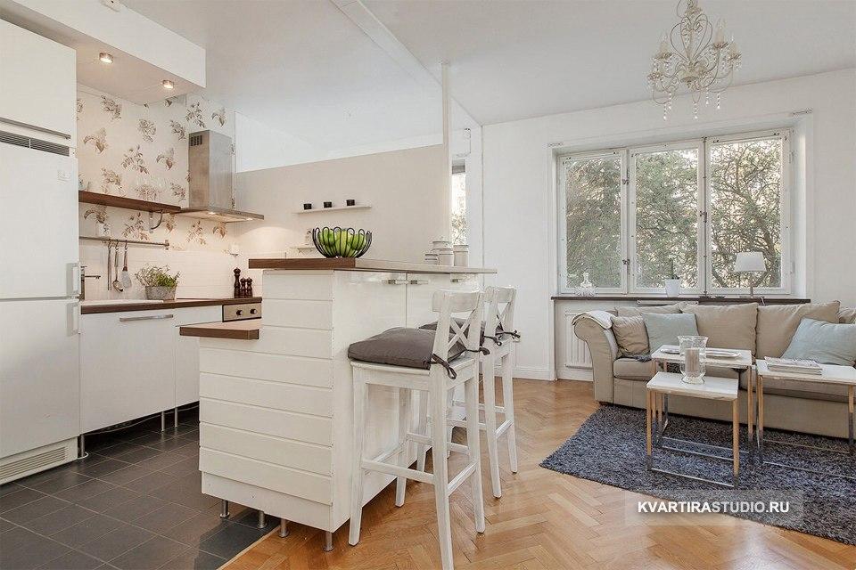 Светлый интерьер квартиры-студии 31 м - http://kvartirastudio.