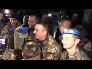 Украина. Город-герой Киев встречает киборгов, защитников донецкого аэропорта