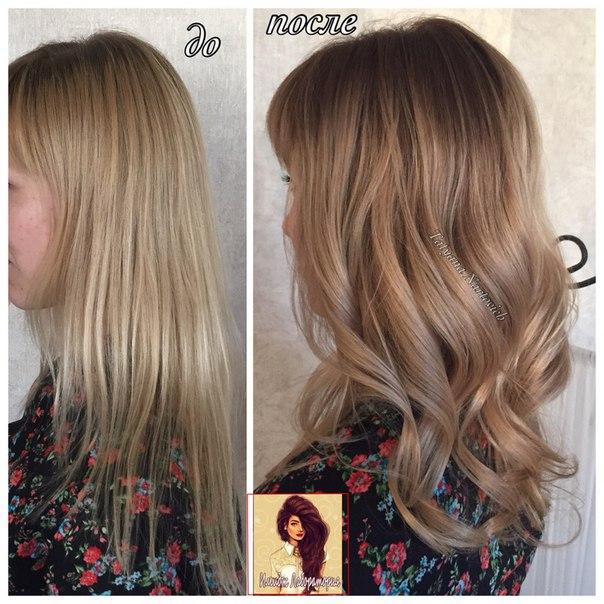 Окрашивание волос с затемнением корней