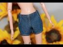 Одежда для куклы Барби .Как сшить джинсовые шорты. \ How to make denim shorts for Barbie