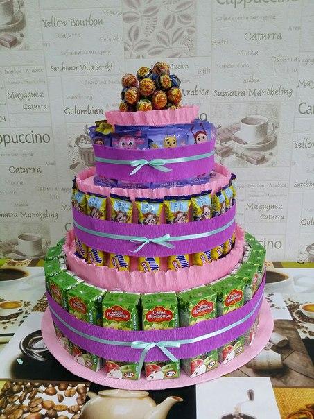 Торты из конфет и соков своими руками