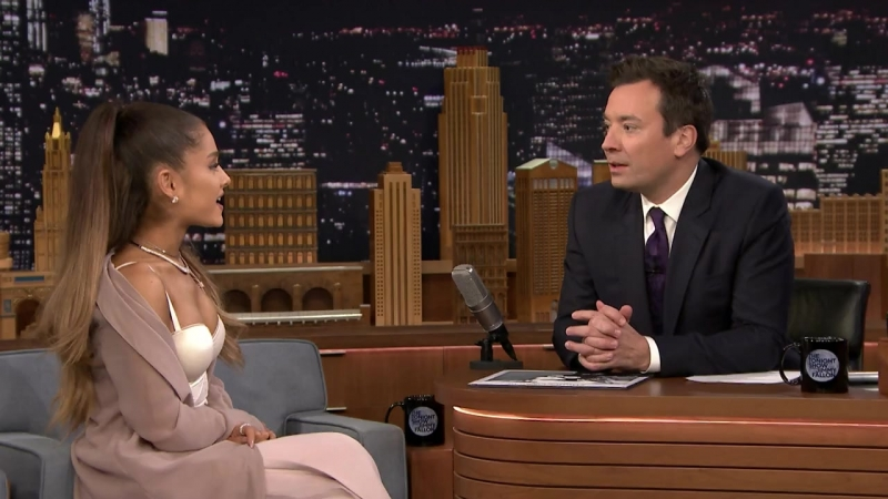 Ariana Grande Shows Off Her Winking Dog Toulouse and Sassy Nonna - The Tonight Show