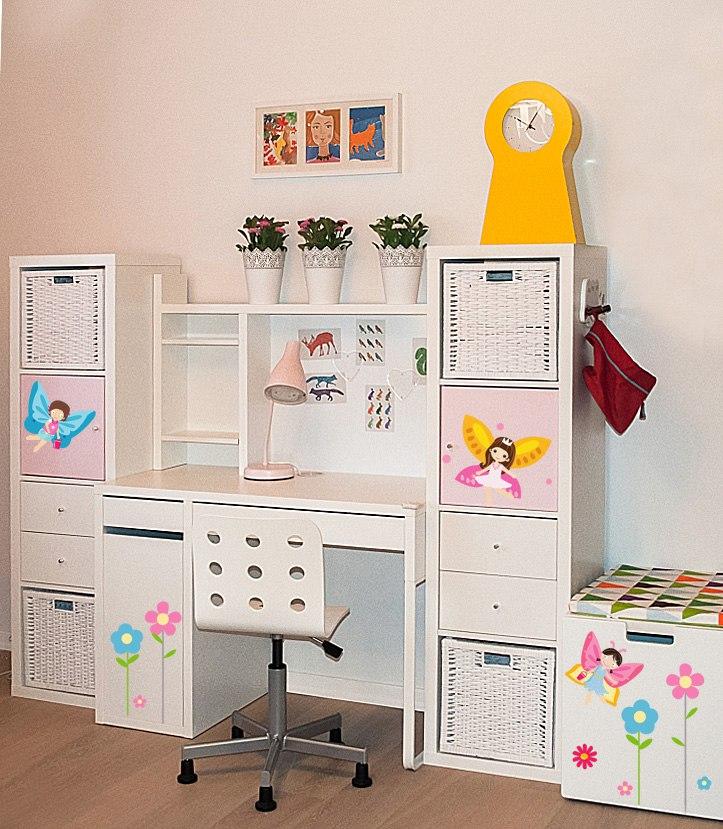 фото оформлении детской мебели икеа набором наклейклеек феи и цветы