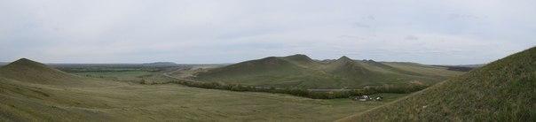 Панорама на трассу Оренбург-Орск с северного-западного склона г.Верблюжка