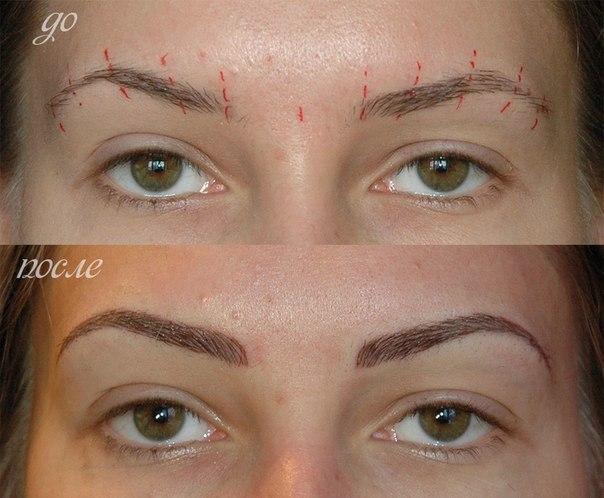 Татуаж бровей до и после заживления фото