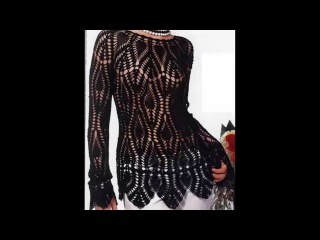 Jersey Hermoso Motivos Piñas Negro Calado crochet