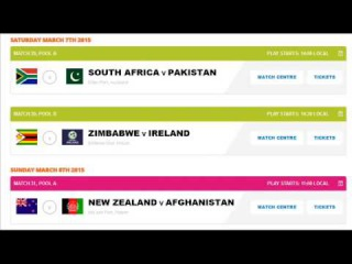 ICC Cricket World Cup 2015 Schedule in IST: Time Table, Fixture