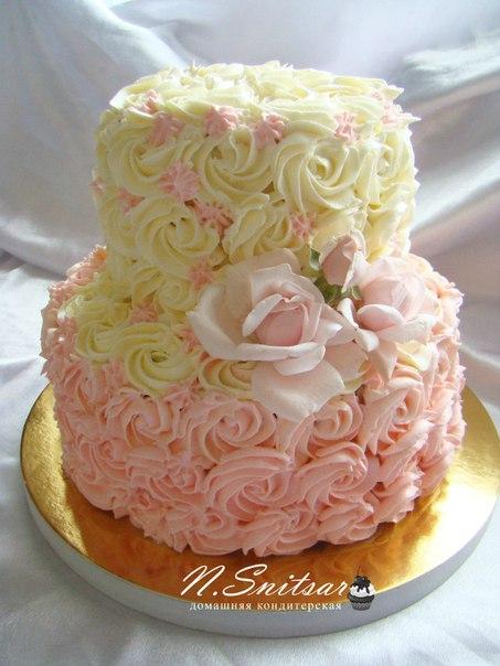 Свадебные торты кремовые двухъярусные фото
