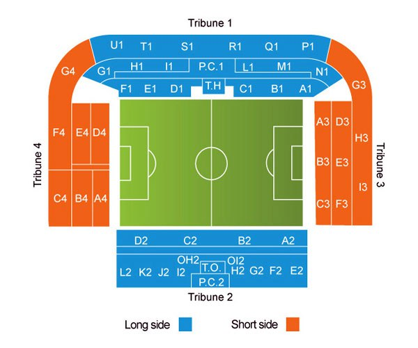 "Схема стадиона ""Морис Дюфран"" (Stade Maurice Dufrasne)"