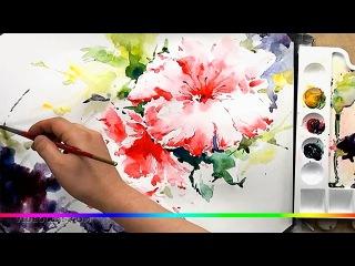 Акварель - пестрый цветок красивый рисунок (скоростная живопись)
