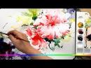 Акварель пестрый цветок красивый рисунок скоростная живопись