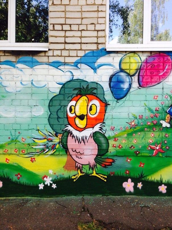 Рисунок на фасаде детского сада