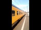 станция Тушино .поезд Москва Рига)))))ЧС7)))))