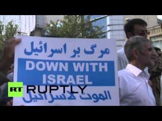 Иран: Тегеран активисты протестуют против Израиля после мечети Аль-Акса столкновений.
