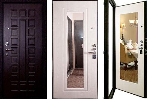 входная дверь белая с зеркальными вставками внутри