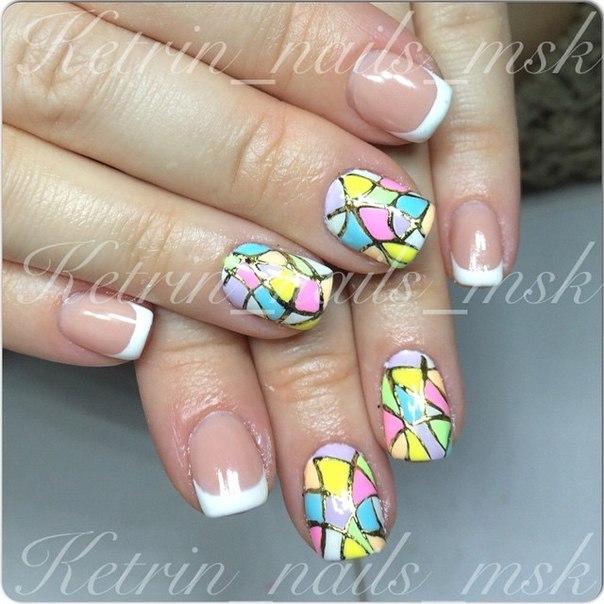 Дизайн ногтей мозаика с литьем фото