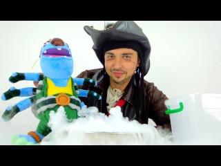 Видео для детей. Опыты и эксперименты с сухим льдом и водой от пирата Джека.  Выталкивающая сила.