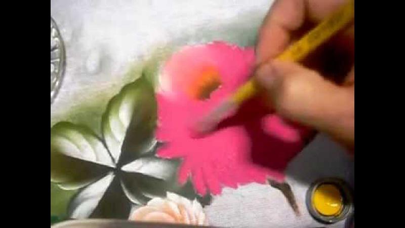 Roniel Coimbra - Crisantemos parte 01 pintura em tecido