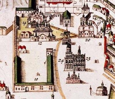 Соборная площадь на плане Кремленагард (начало XVII в.)