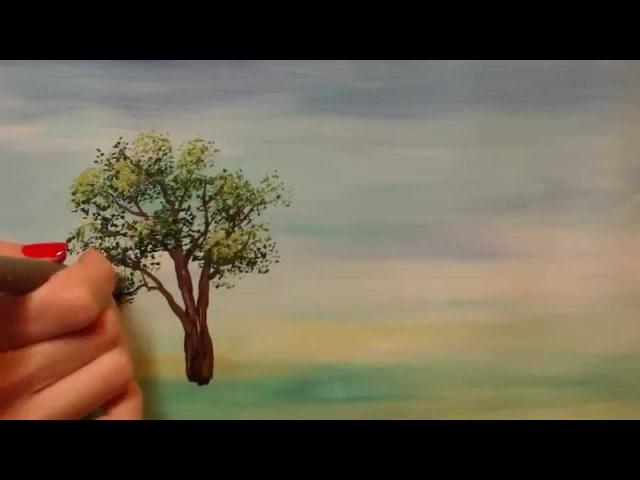Онлайн-урок рисования гуашью для начинающих. Как нарисовать дерево
