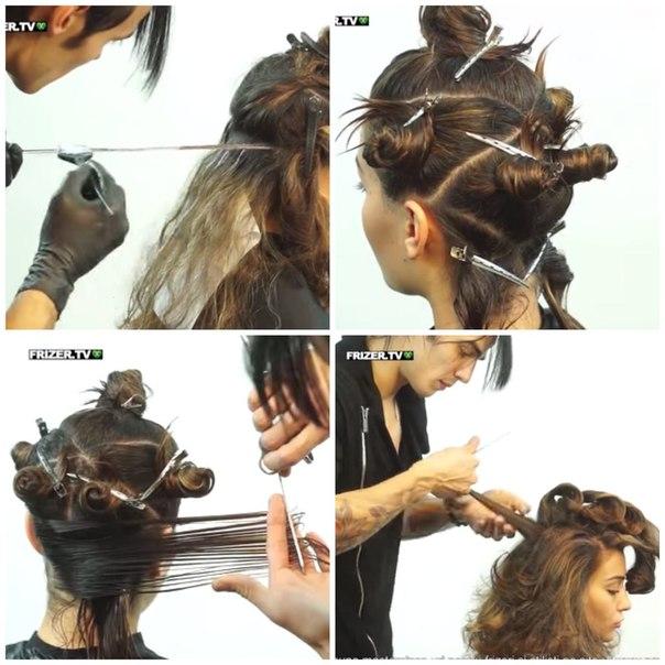 Прическа на средние волосы каскад своими руками