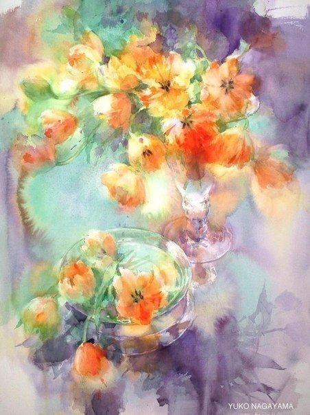 Прекрасные картины написанные акварелью от японского художника Yuko Nagayama
