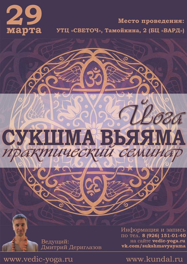 Афиша Солнечногорск Сукшма-Вьяяма - практический семинар с Дмитрием