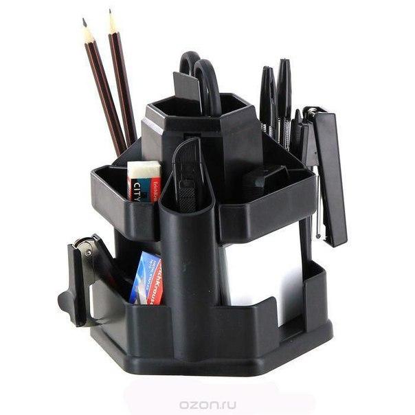 """Набор настольный """"офисный"""", цвет: черный, 15 предметов, Erich Krause"""