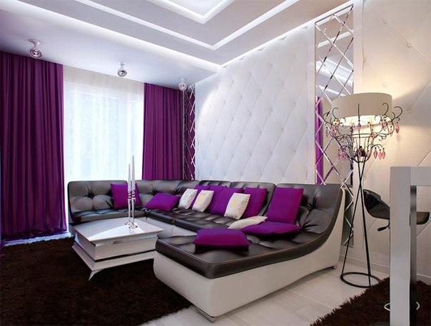 Дизайн комнат в сиреневых тонах