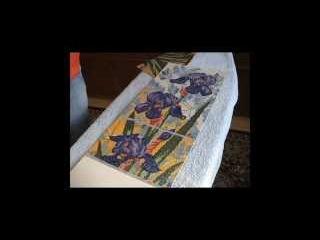 Оформление работы в алмазной технике в багет. Ирисы от Lasko