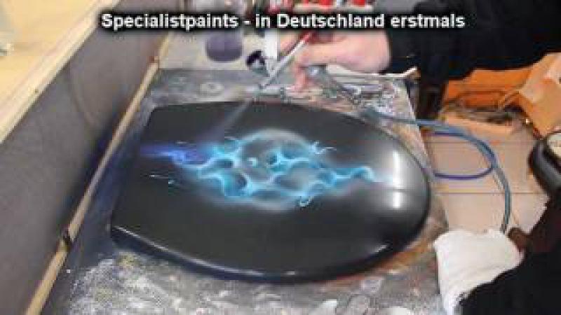 Airbrush WC Sitz Design Yin Yang Bluefire Anleitung SK Brush