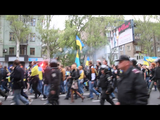 28 апреля 2014. Донецк. ⚡ Ukraine crisis 2014 - Donetsk Demo - 2 minutes before violence