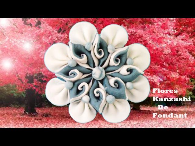 DIY flores Kanzashi de fondant with double flower petals fondant