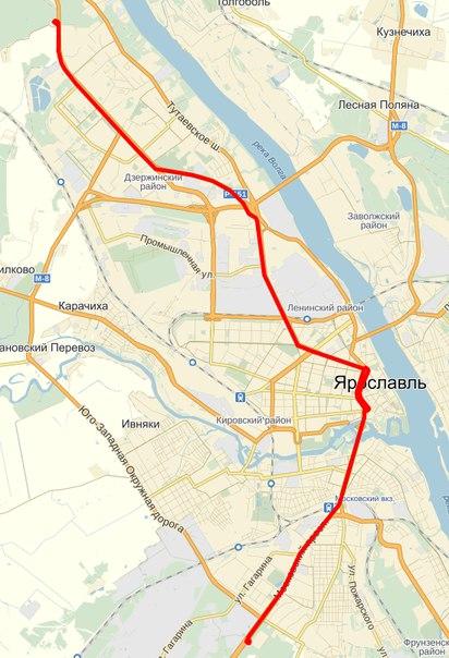 Схема маршрута скоростного