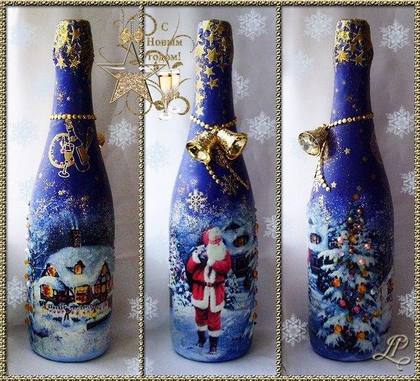 Декупаж шампанского на новый год мастер класс