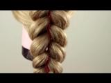 Как заплести косичку из 5 прядей (c двумя лентами). Braiding with five strand(3 strands 2 ribbons)