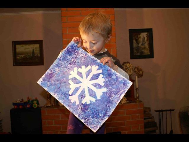 УРОКИ РИСОВАНИЯ ДЛЯ ДЕТЕЙ. Рисование мятой бумагой. Снежинка.