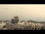 08.11.2015. #Сирия. Момент полета снаряда и попадания в здание с боевиками