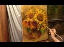 Янтарные подсолнухи Amber sunflowers Alla Prima Process of creating oil painting from Oleg Buiko