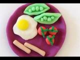 Как лепить Еду. Из пластилина Play-Doh лепим яичницу с сосисками и зеленым горошком. Еда для Кукол.