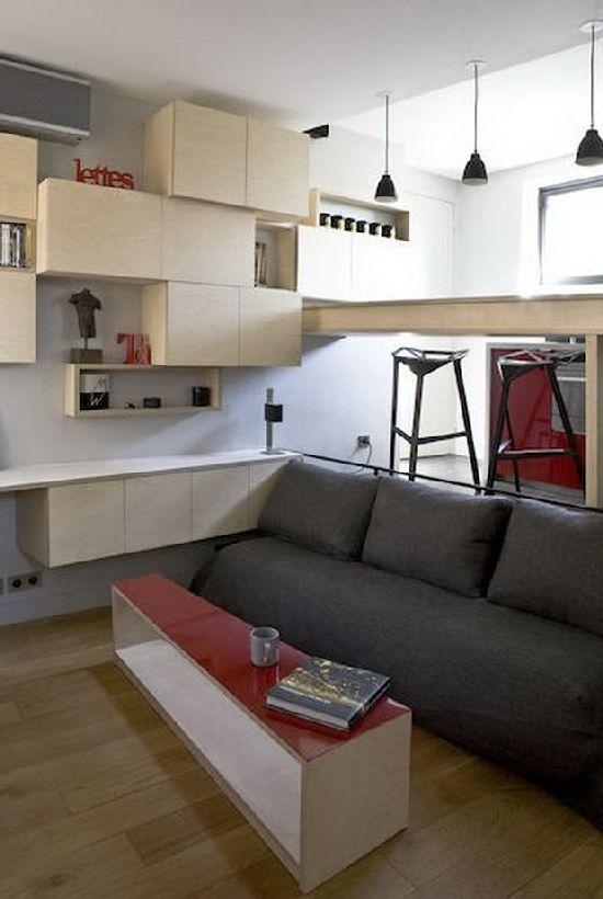 Совсем недавно обсуждали 3d-макет квартиры с кухней на подиуме и кроватью внутри.