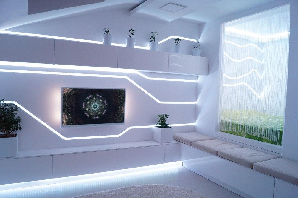 Цветная подсветка сделает интерьер студии всегда новым и разным.