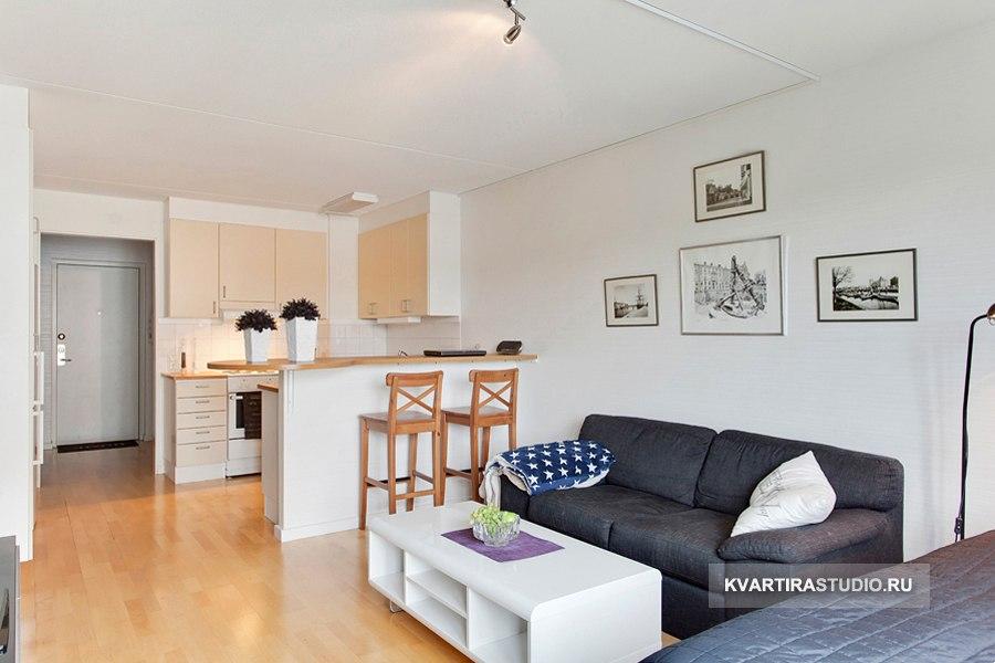 Квартира прямоугольной студийной планировки 33 м в Уппсале / Швеция - http://kvartirastudio.