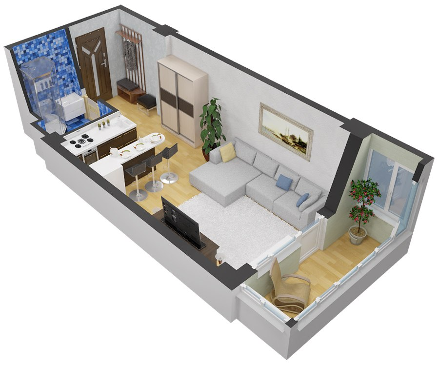Проекты прямоугольных квартир-студий от 28 м от застройщика ЖК «Молодежный» в Красногорске, Подмосковье.